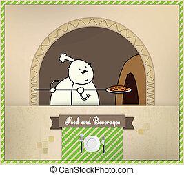 colocación, alimento, serie, bebidas, chef, horno,  , pizza
