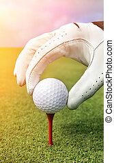 colocación, pelota de golf, en, un, tee
