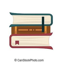 colocado, libros, rollo