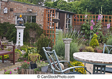 colocado, saída, jardim, springtime, costas