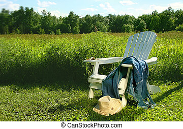 colocar, silla, vaqueros, adirondack, campo