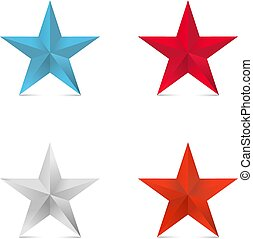 coloder 3d stars  red star blue silver bronze