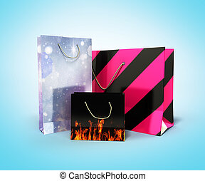 coloder paper bags 3d render on blue background