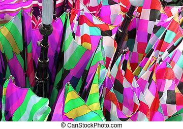 colored canvas of handcrafted umbrellas fabrics