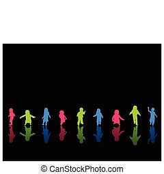 coloeful, kinderen, silhouettes