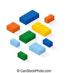 Colorful bricks background. Construction set details. Vector, eps10.