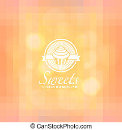 Colorful mosaic sweets background: cupcake icon bokeh