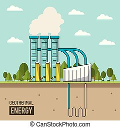 coloful background geothermal energy production plant with...