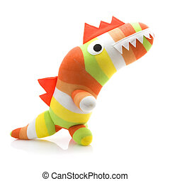 Coloful Hand Made Dinosar on a White Background
