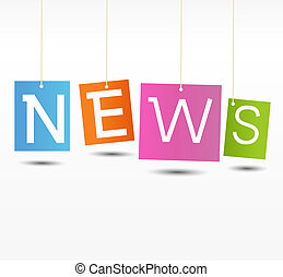 Coloful hanging news labels - Education News - Newspaper...