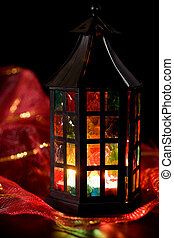 coloful lantern burning in the dark