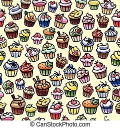 coloful, petits gâteaux, seamless, fond