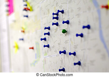 coloful pins on the map