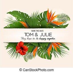 coloful, vektor, desing, zöld, egzotikus, flowers., meghívás, esküvő