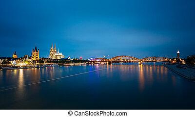 cologne, allemagne, nuit, cathédrale, hohenzollern pont, vue