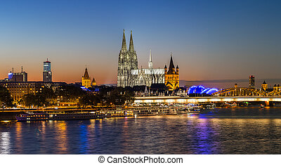 Cologne at sunset panorama