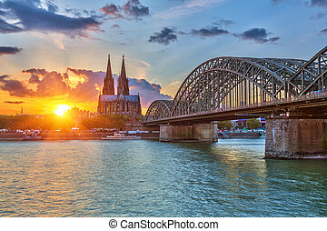 Cologne at sunset