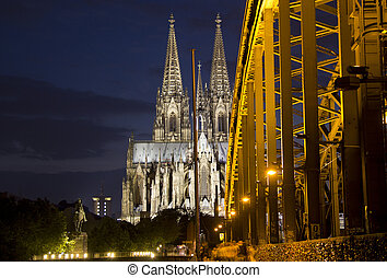 Cologne Bridge and Cathedral - Cologne Cathedral and part of...