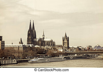 Cologne Cathedral and river Rhine - View on Cologne...