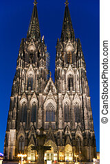 Cologne Cathedral at night, Germany - Ko?lner Dom,...