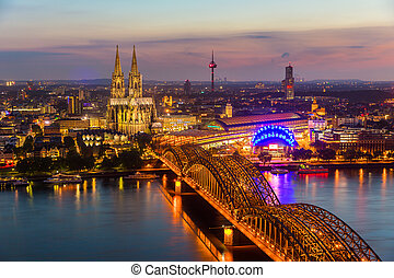 Cologne cathedral at sunset blue hour