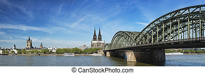 Cologne Cathedral Panorama, Germany - Panoramic view of the...