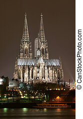 Cologne cathedral at night scene
