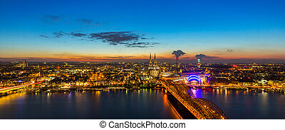Cologne city at sunset