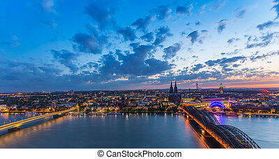 cologne city skyline at dusk panorama