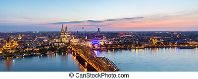 Cologne city skyline panorama at sunset