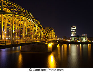 cologne cityscape at night