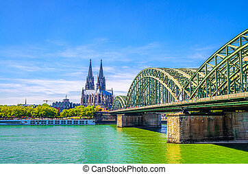 Cologne cityscape of historical city centre with Great Saint Martin Roman Catholic Church