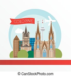 Cologne detailed silhouette. Trendy vector illustration,...