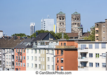 Cologne Deutz and St. Heribert Church, Germany, editorial