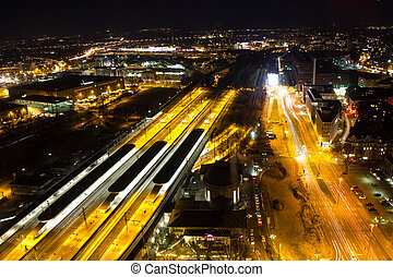cologne deutz railway station at night