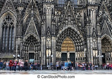cologne dom with moving people as a hdr picture
