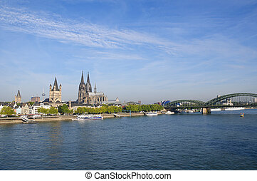 Cologne, Germany - Cologne view from the Deutzer Bridge at...