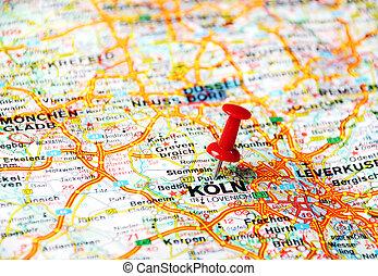köln karta tyskland Koln ,germany map taxi. Close up of koln ,germany map with red pin  köln karta tyskland