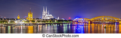 Cologne, Germany panorama over the Rhine River.