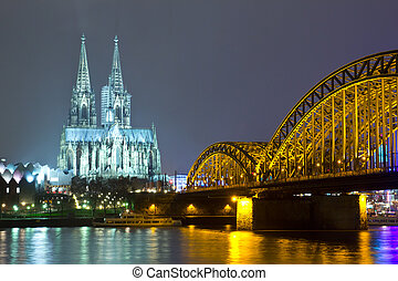 Cologne Germany - Riverside view of the Cologne Cathedral ...