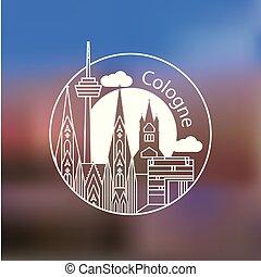 cologne, grand, linéaire, élégant, rue., landmarks., cologne, branché, vecteur, koln, martinet, église, cathédrale, logo., symbole, germany.