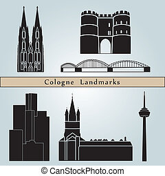 Cologne Landmarks - Cologne landmarks and monuments isolated...