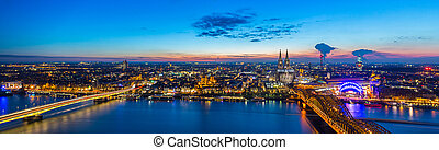 Cologne night panorama