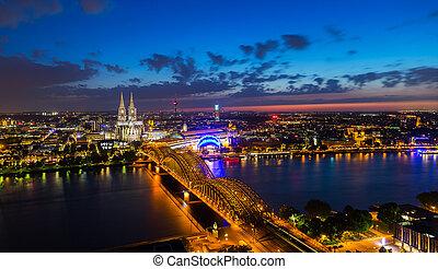 Cologne night skyline panorama