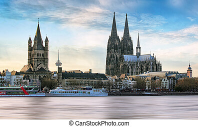 Cologne over the Rhine River with cruise ship in Cologne, ...
