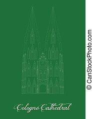 cologne, repère, illustration, cathédrale