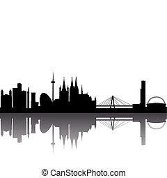Cologne Skyline abstract on white Background