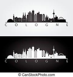 Cologne skyline and landmarks silhouette