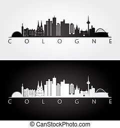 Cologne skyline and landmarks silhouette