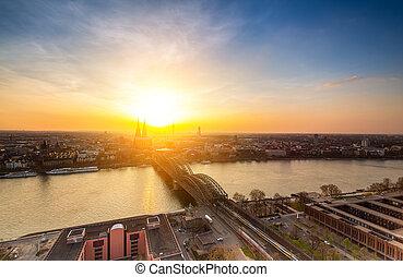Cologne skyline at sunset